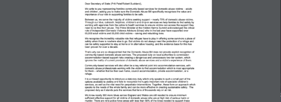 Letter from community based domestic abuse services to Government